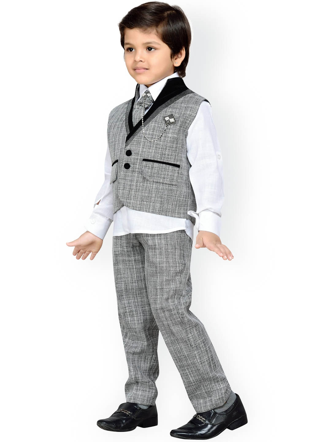 862a0ab40 Buy Aj DEZInES Boys Grey   White Regular Fit Party Waistcoat Suit ...