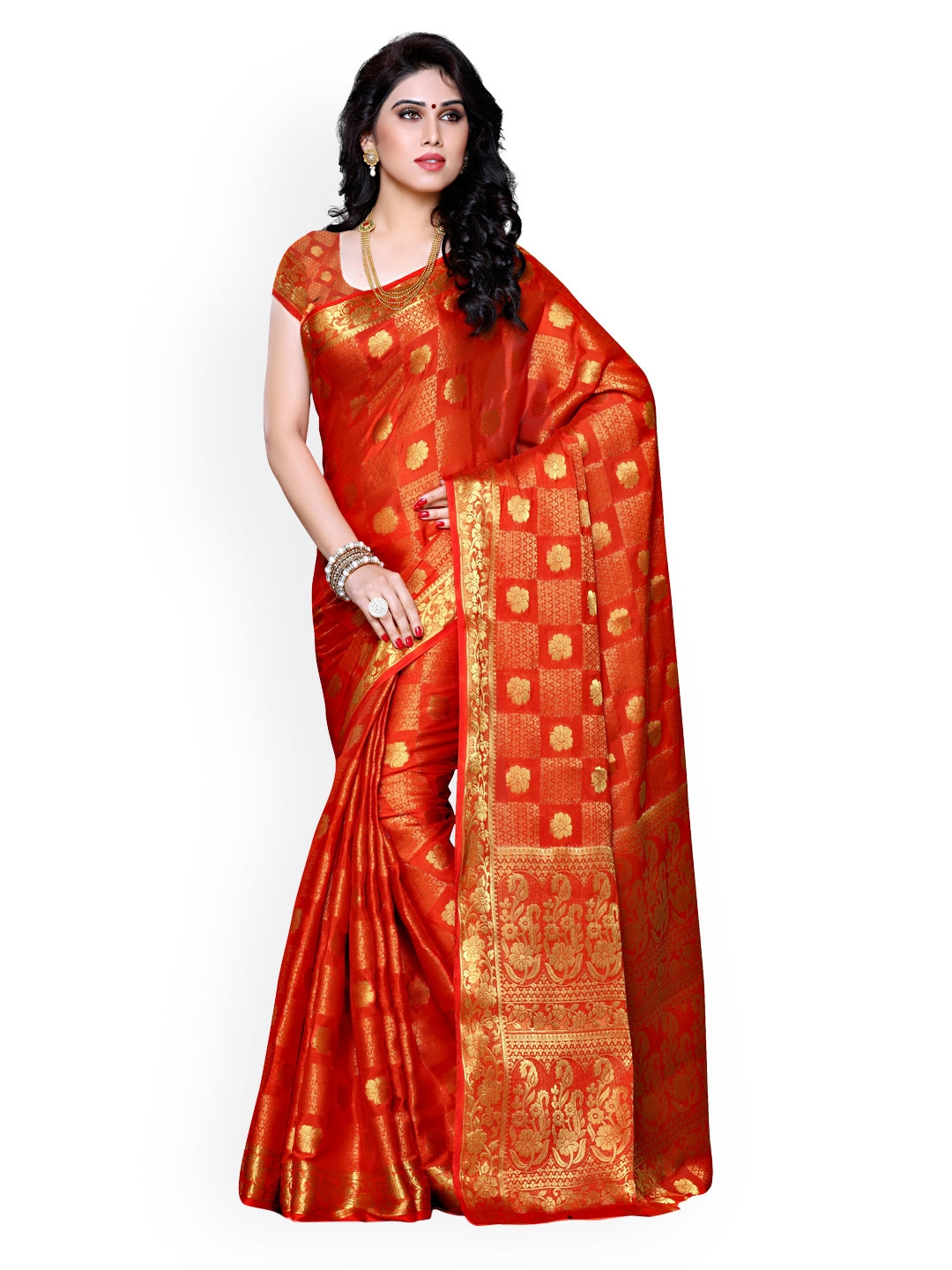 Nanda Silk Mills Green Cotton Silk Traditonal Saree Buy
