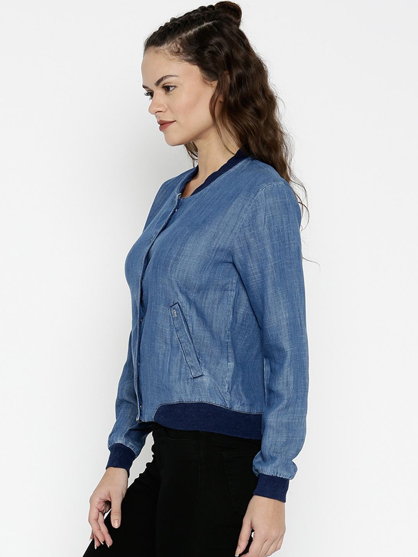 815116f5037c1 Buy ONLY Women Blue Bomber Jacket - Jackets for Women | Myntra