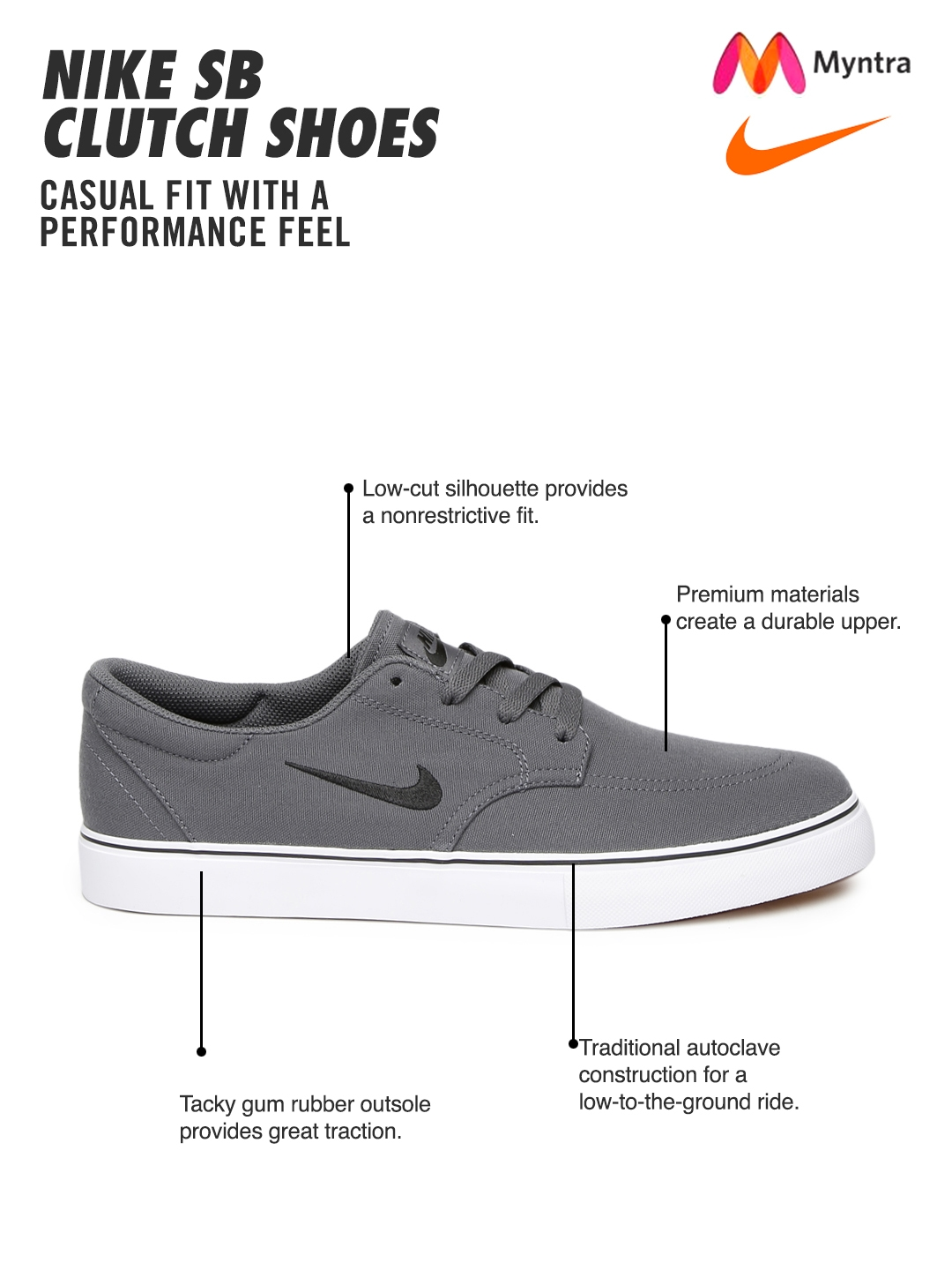 649a159e07df Buy Nike Men Grey SB Clutch Skate Shoes - Casual Shoes for Men ...