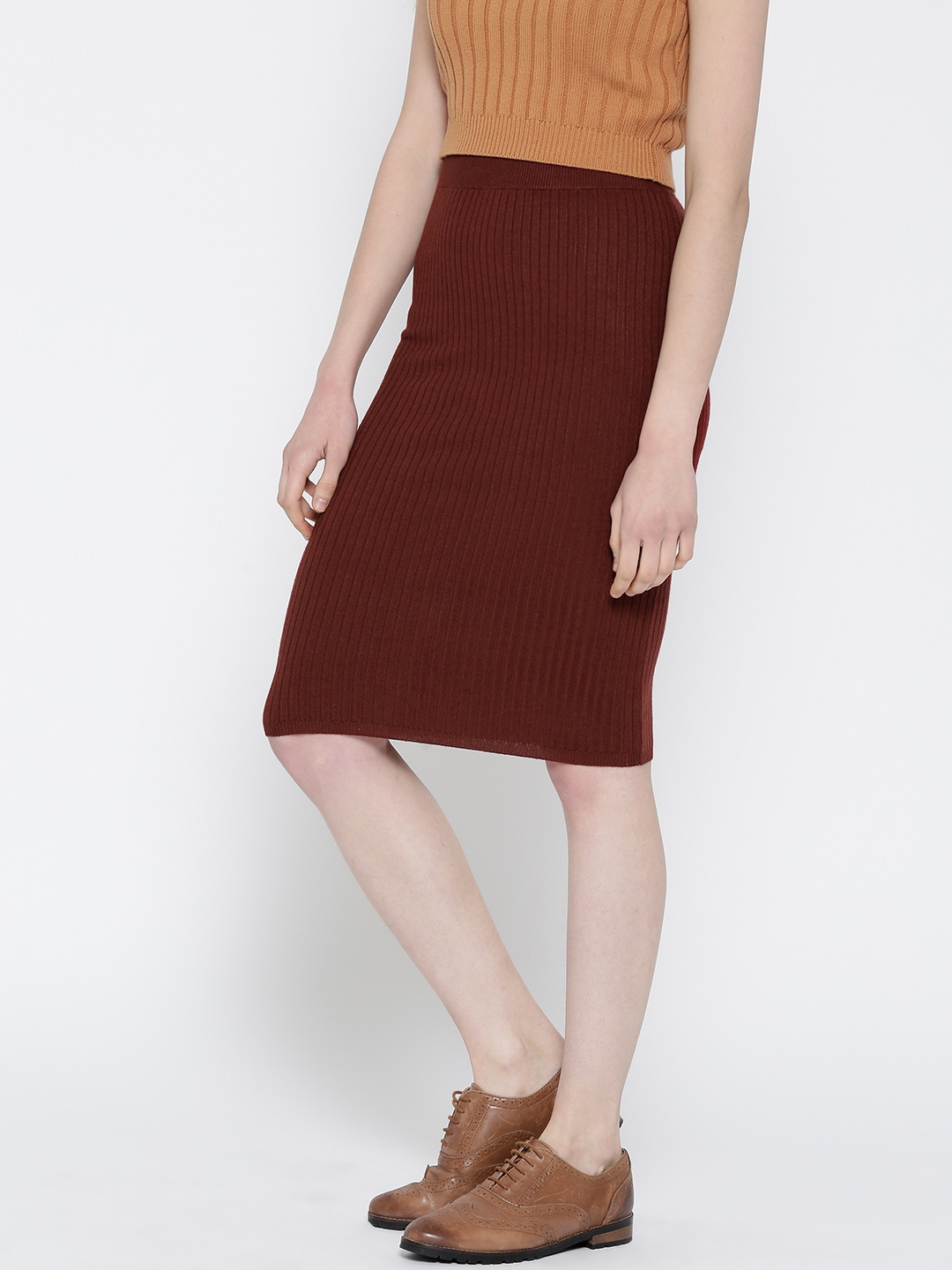 a7d34e8a8 Buy FOREVER 21 Rust Red Self Striped Pencil Skirt - Skirts for Women ...