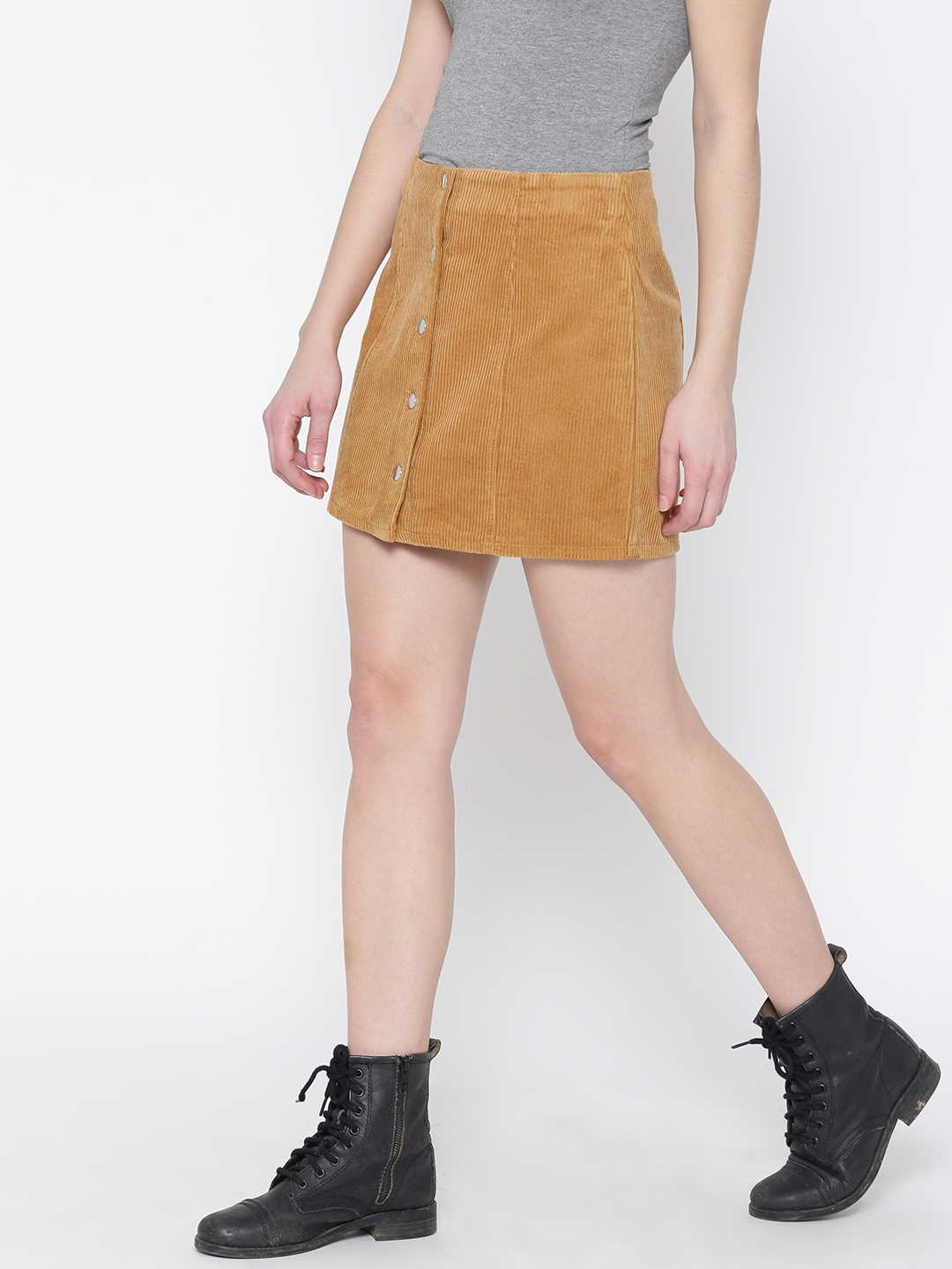 37d2579f5a0db6 Buy FOREVER 21 Mustard Yellow Corduroy A Line Skirt - Skirts for ...