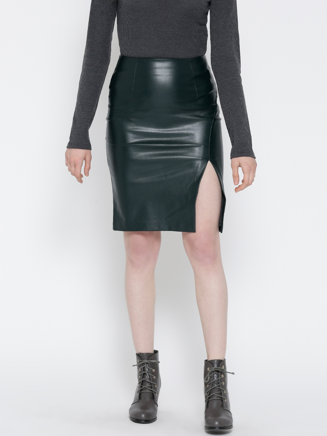 official supplier meet rock-bottom price FOREVER 21 Green Faux Leather Pencil Skirt