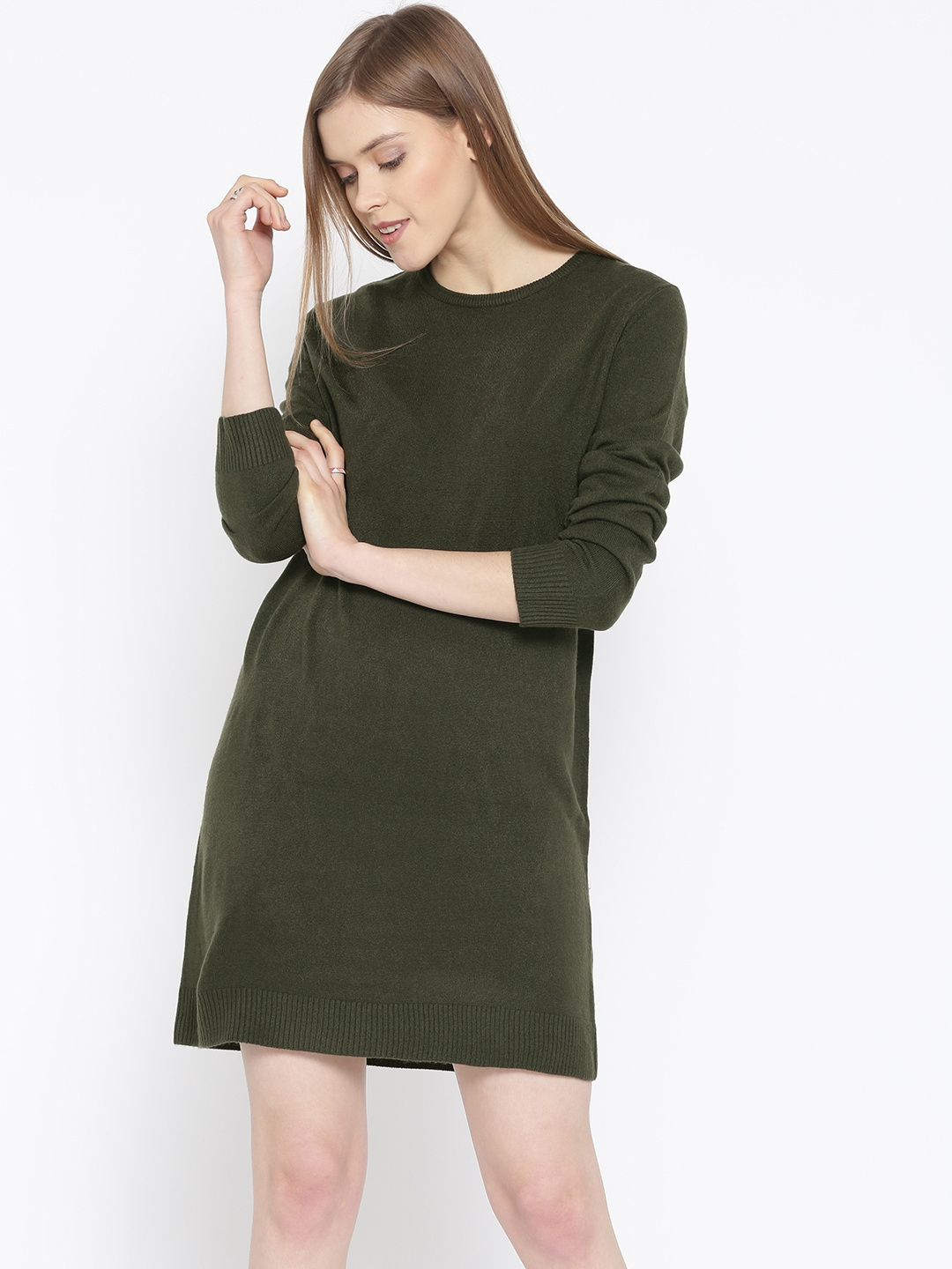 bedb342e649 Buy FOREVER 21 Women Olive Green Solid Sweater Dress - Dresses for ...