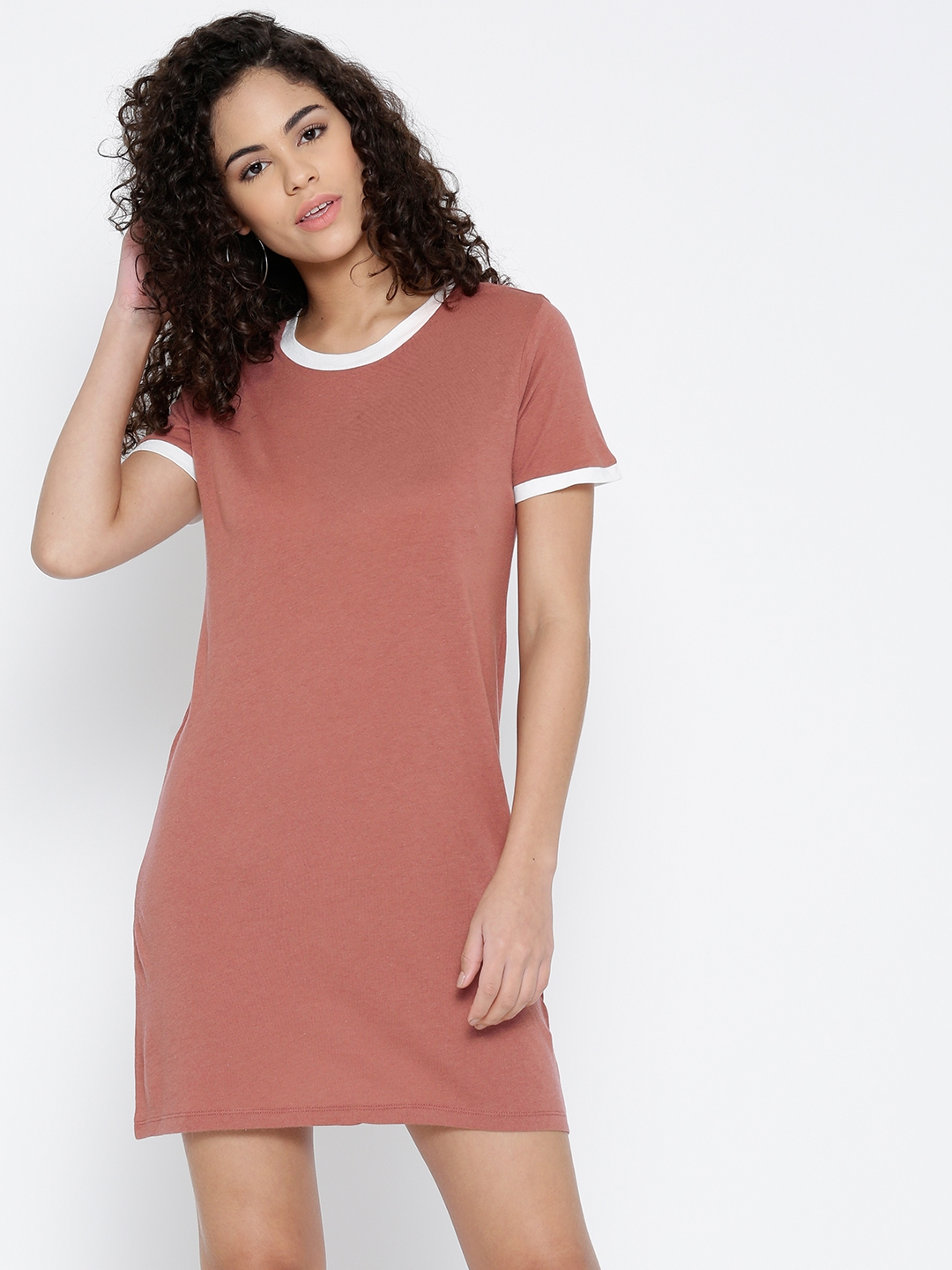7f18ff0535c4 Buy FOREVER 21 Women Dusty Pink Solid T Shirt Dress - Dresses for ...