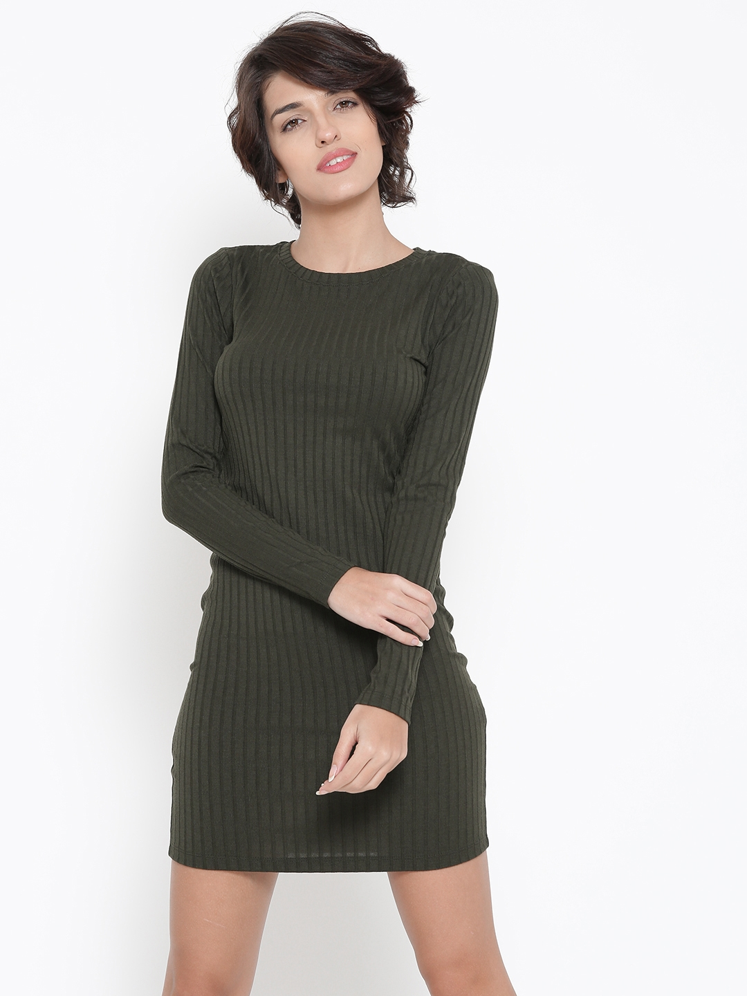 ba3f4a4f Buy FOREVER 21 Women Olive Green Self Striped Sheath Dress - Dresses ...