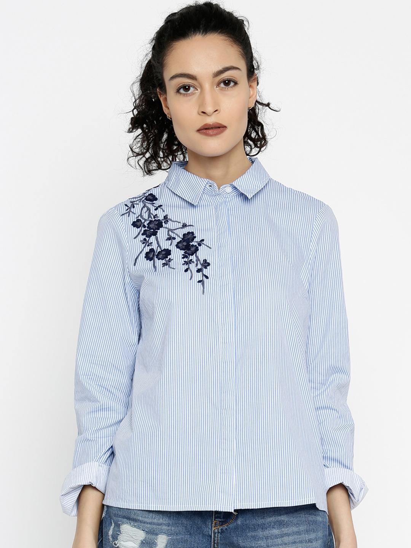 1342314884 Buy Vero Moda Women Blue & White Striped Casual Shirt - Shirts for ...