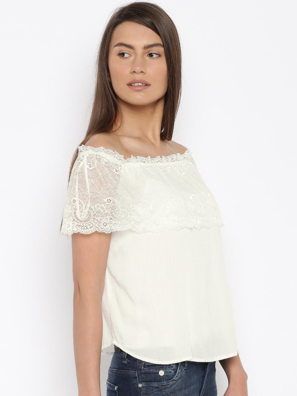 2d33b428875d Buy Vero Moda Women White Lace Top - Tops for Women 1722149 | Myntra