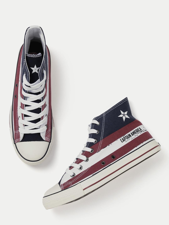 275c41296f04 Buy Kook N Keech Marvel Men Maroon Striped Mid Top Sneakers - Casual ...