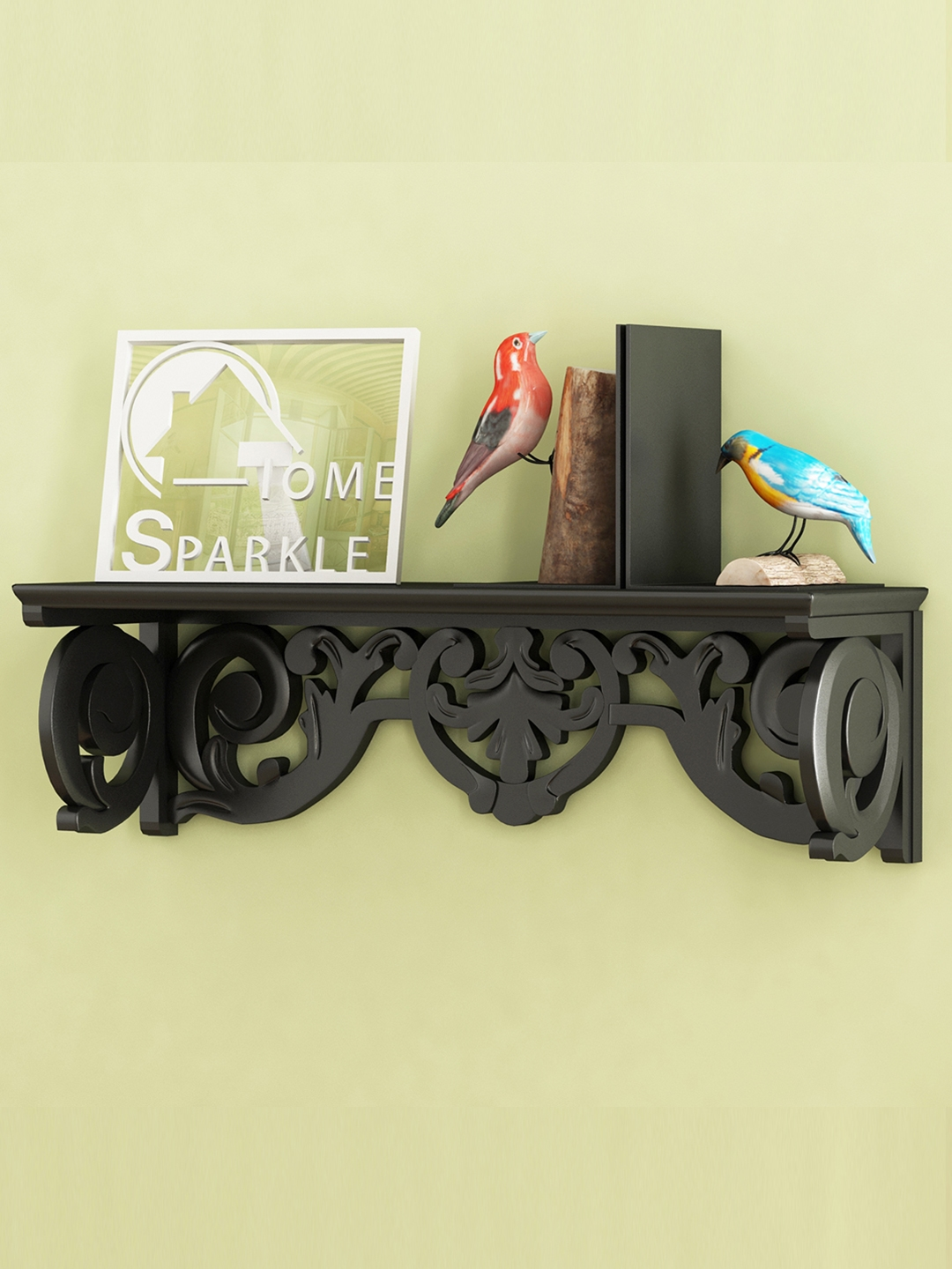 Home Sparkle Black Carved Wall Shelf