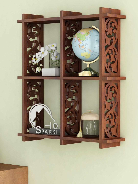 Home Sparkle Brown 4 Pocket Wall Shelf