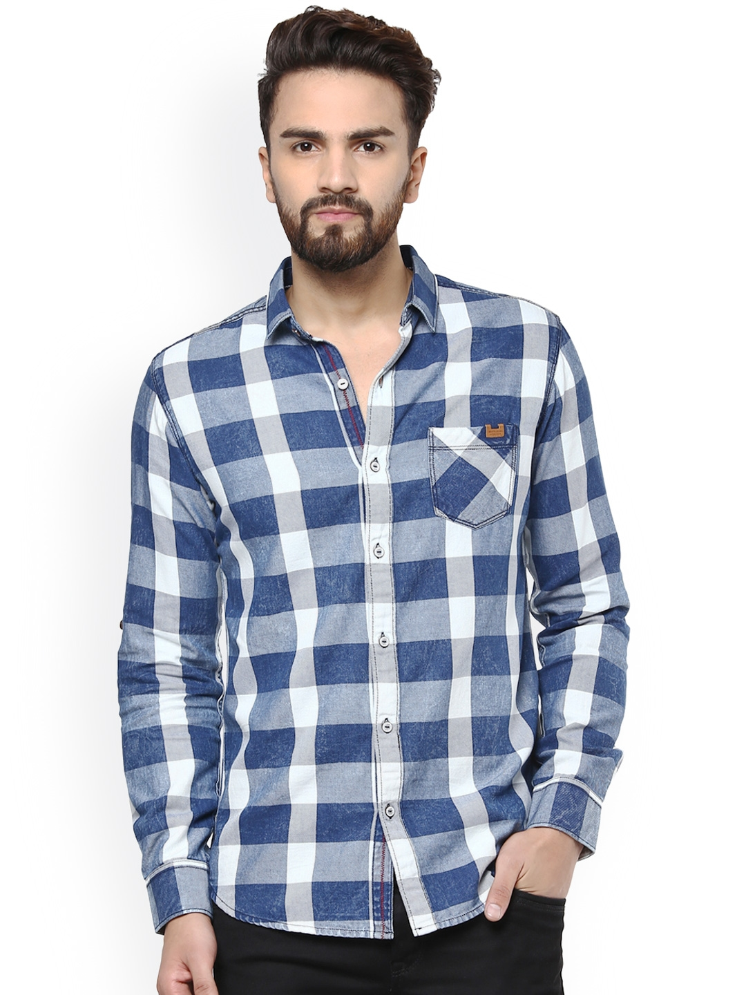 411866def9 Buy Mufti Men Blue   White Slim Fit Checked Casual Shirt - Shirts ...