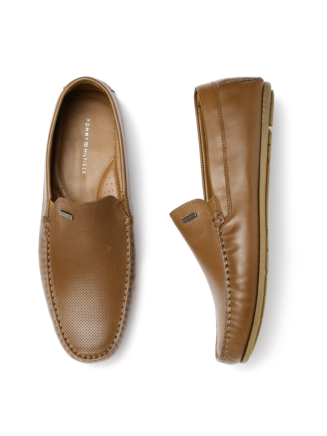 9345fed3a Buy Tommy Hilfiger Men Brown Textured Leather Loafers - Casual Shoes ...
