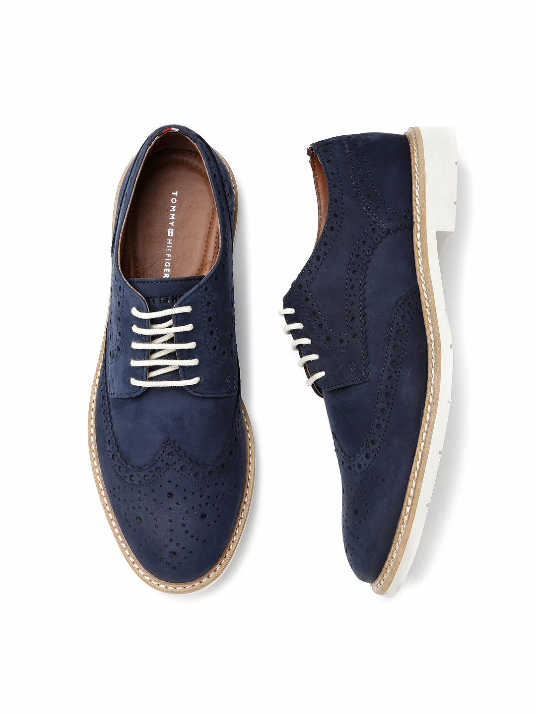 e66a96e57 Buy Tommy Hilfiger Men Navy Perforated Suede Brogues - Casual Shoes ...