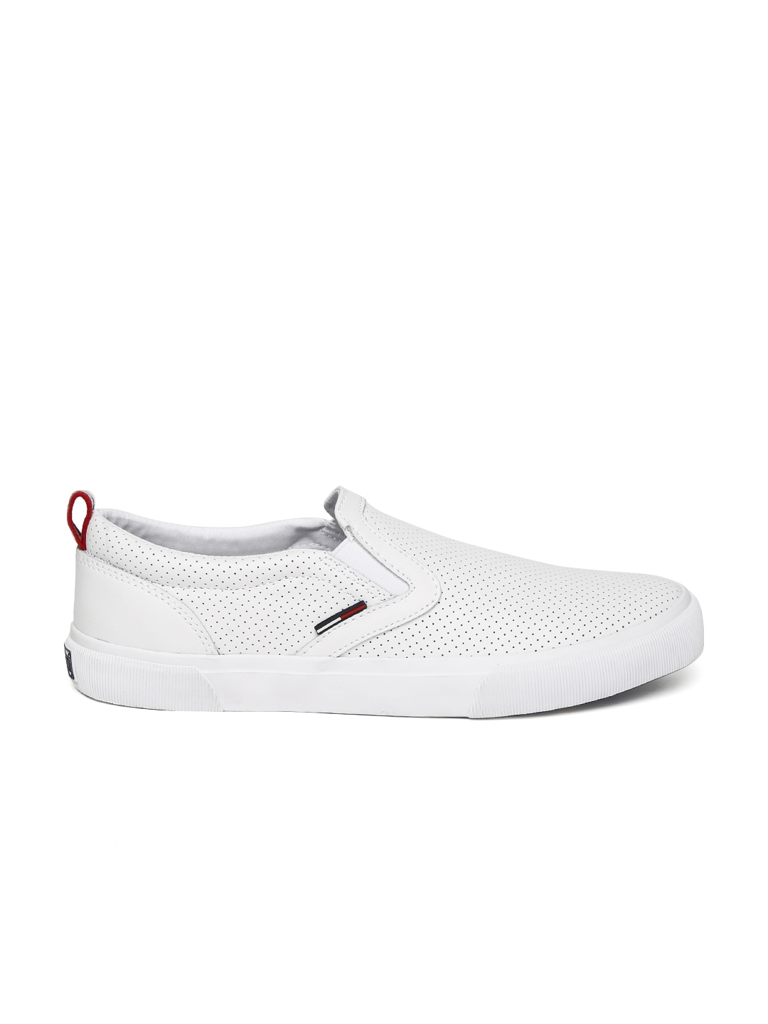 0298e87dd Buy Tommy Hilfiger Men White Perforated Leather Slip On Sneakers ...