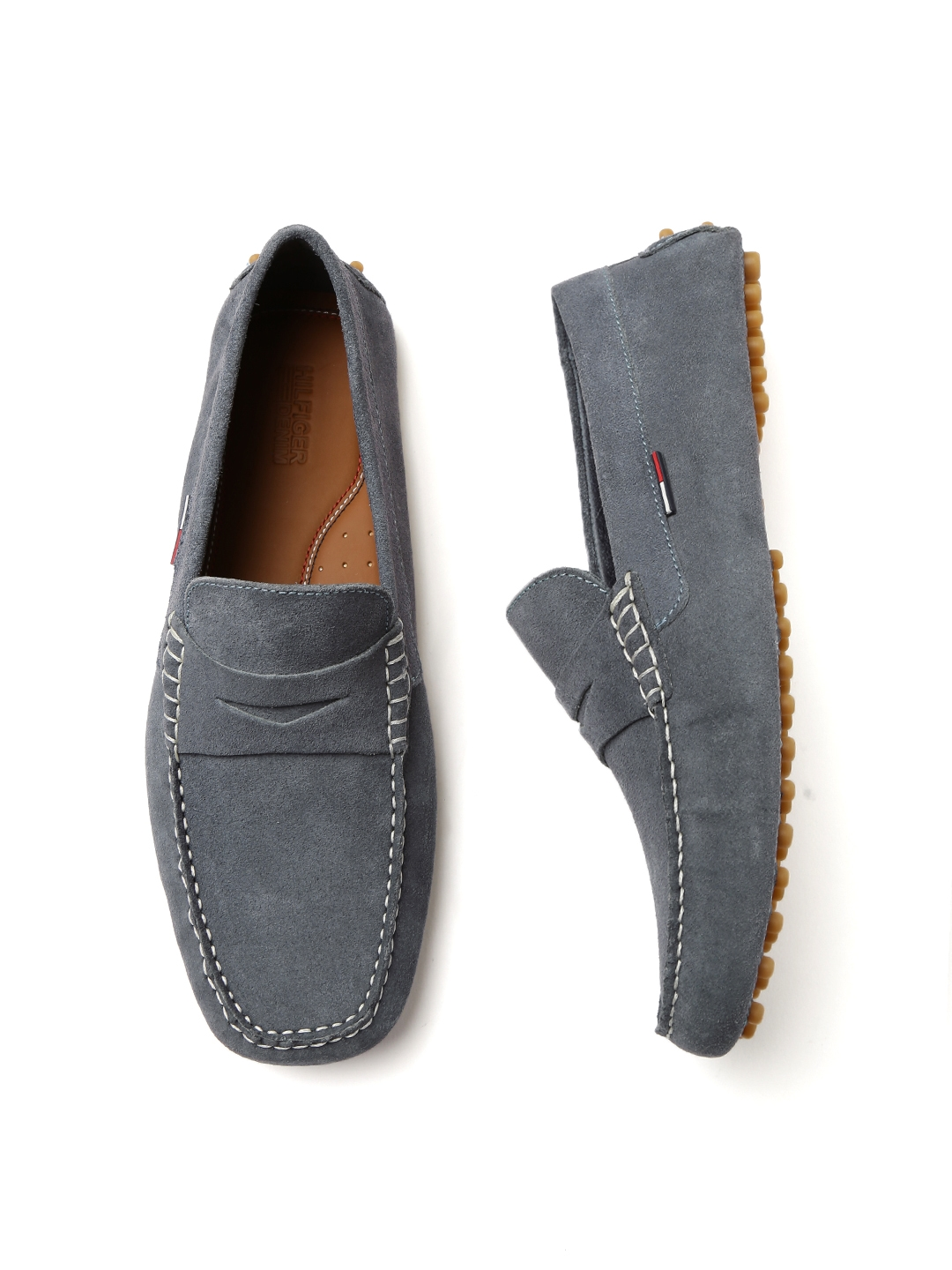 7a55fb156 Buy Tommy Hilfiger Men Blue Solid Suede Driving Shoes - Casual Shoes ...
