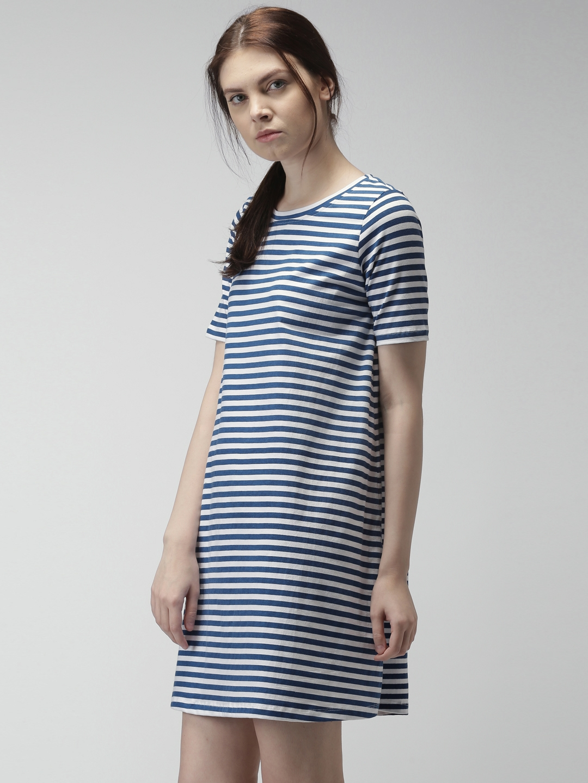 0b88d2711d Buy Mast   Harbour Women Navy   White Striped T Shirt Dress ...