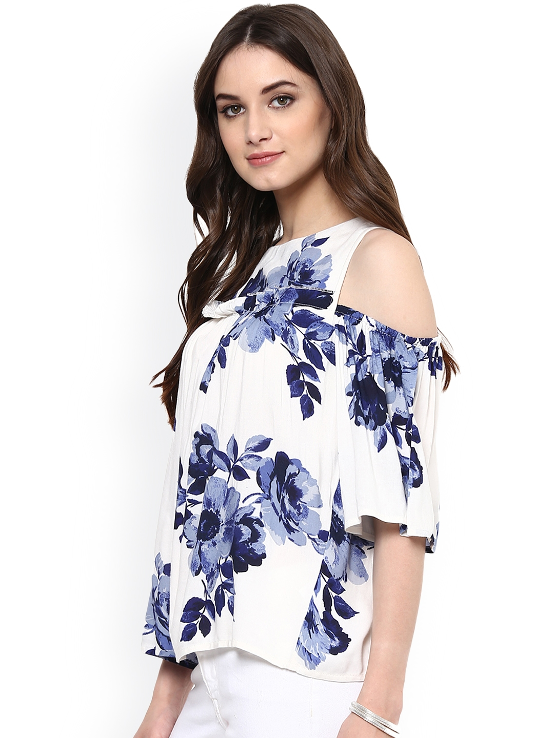 e884dd5b5bb06 Buy Harpa Women White   Blue Printed Cold Shoulder Top - Tops for ...