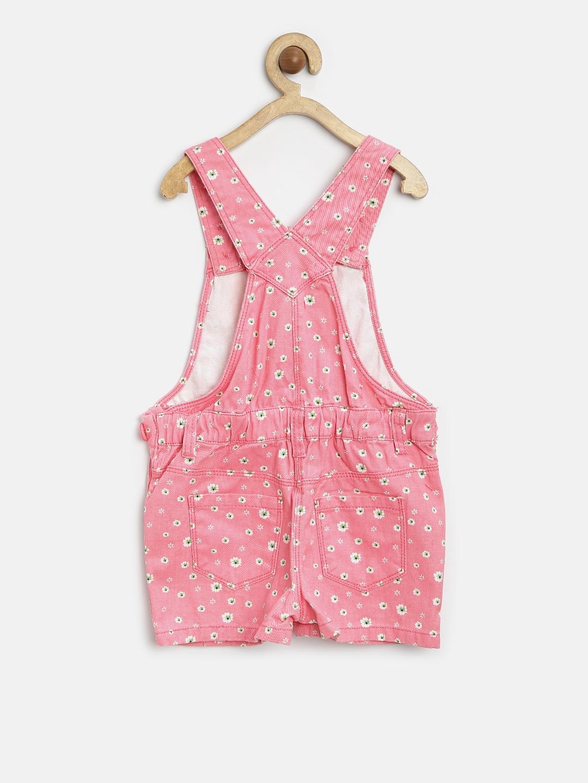 03121f937bd Buy Nauti Nati Girls Pink Floral Print Denim Dungarees - Dungarees ...