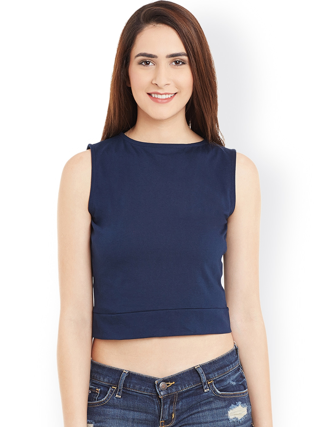 9fde0d3b0e286a Buy Miss Chase Women Navy Blue Solid Crop Top - Tops for Women ...