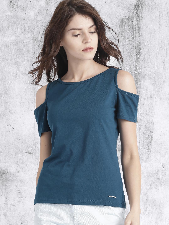 b0dedcd8d6ec38 Buy Roadster Women Blue Solid Cold Shoulder Top - Tops for Women ...