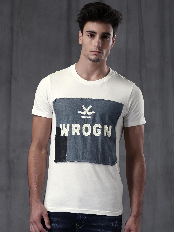 aea5566bd6 Buy WROGN Men White & Blue Printed T Shirt - Tshirts for Men 1729446 ...