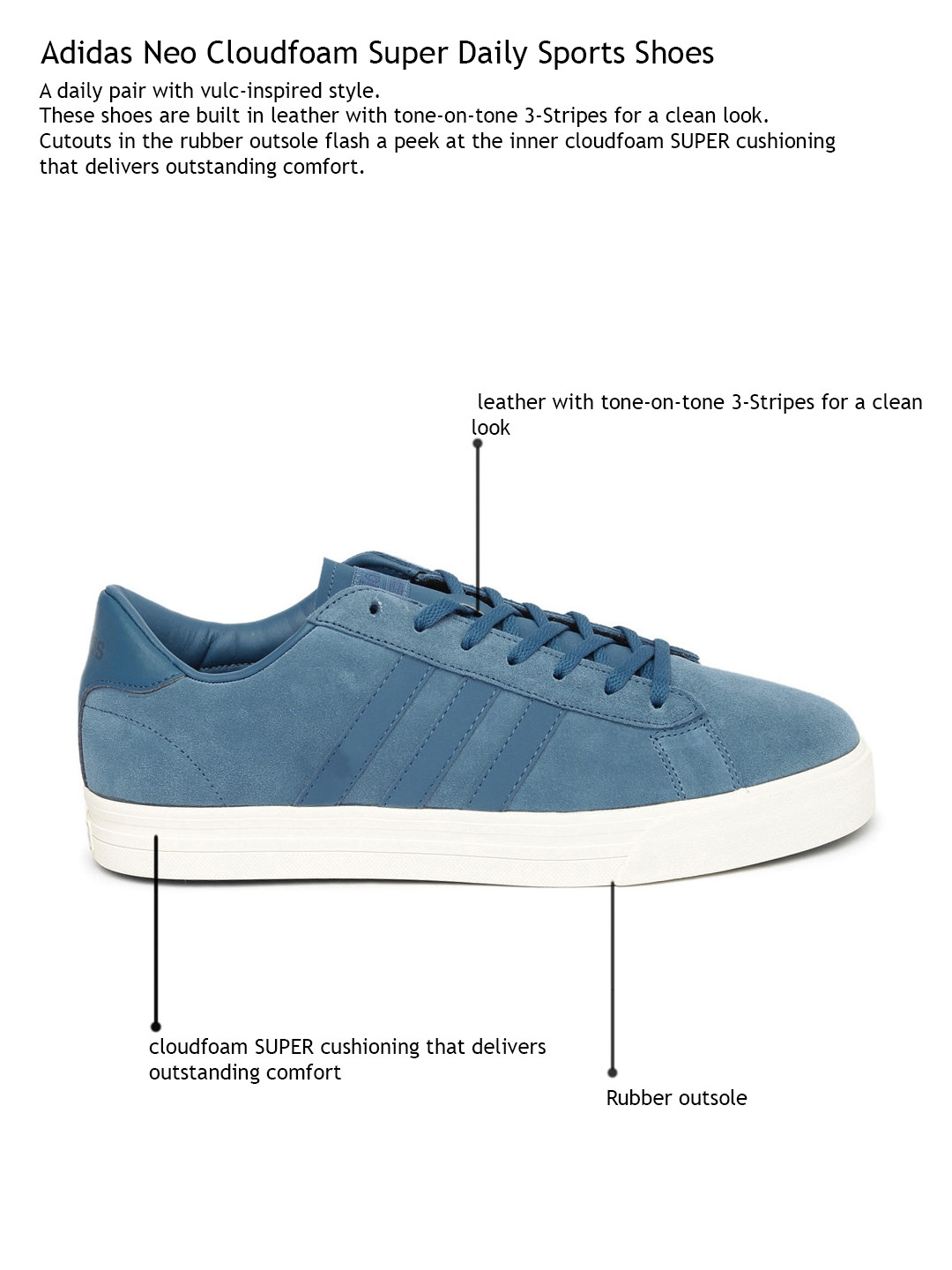 6eeadf1d2bff8 Buy ADIDAS NEO Men Blue Solid Suede Leather Cloudfoam Super Daily ...