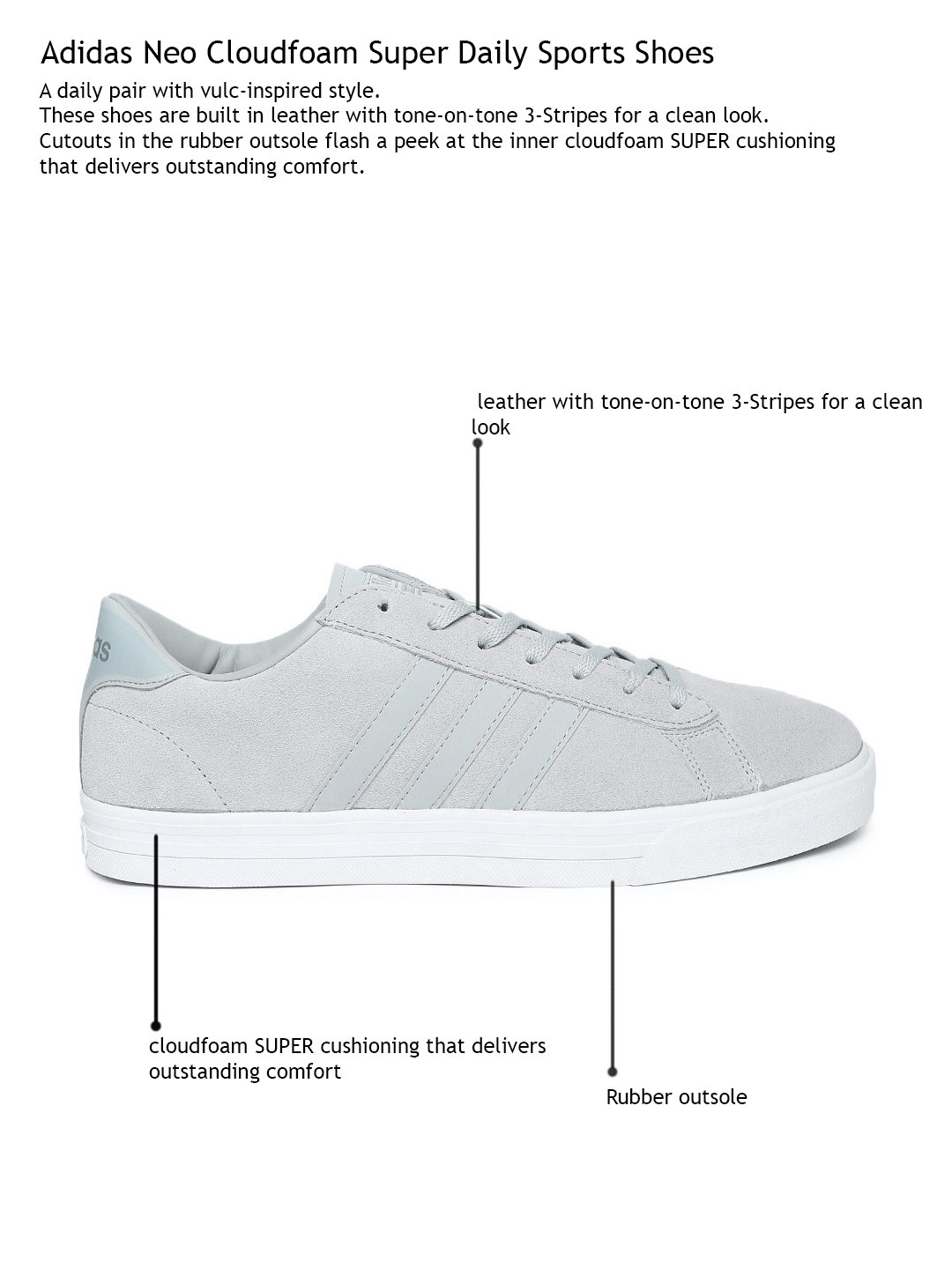 Buy ADIDAS NEO Men Grey Leather Cloudfoam Super Daily Sneakers ... f4f4d99d0