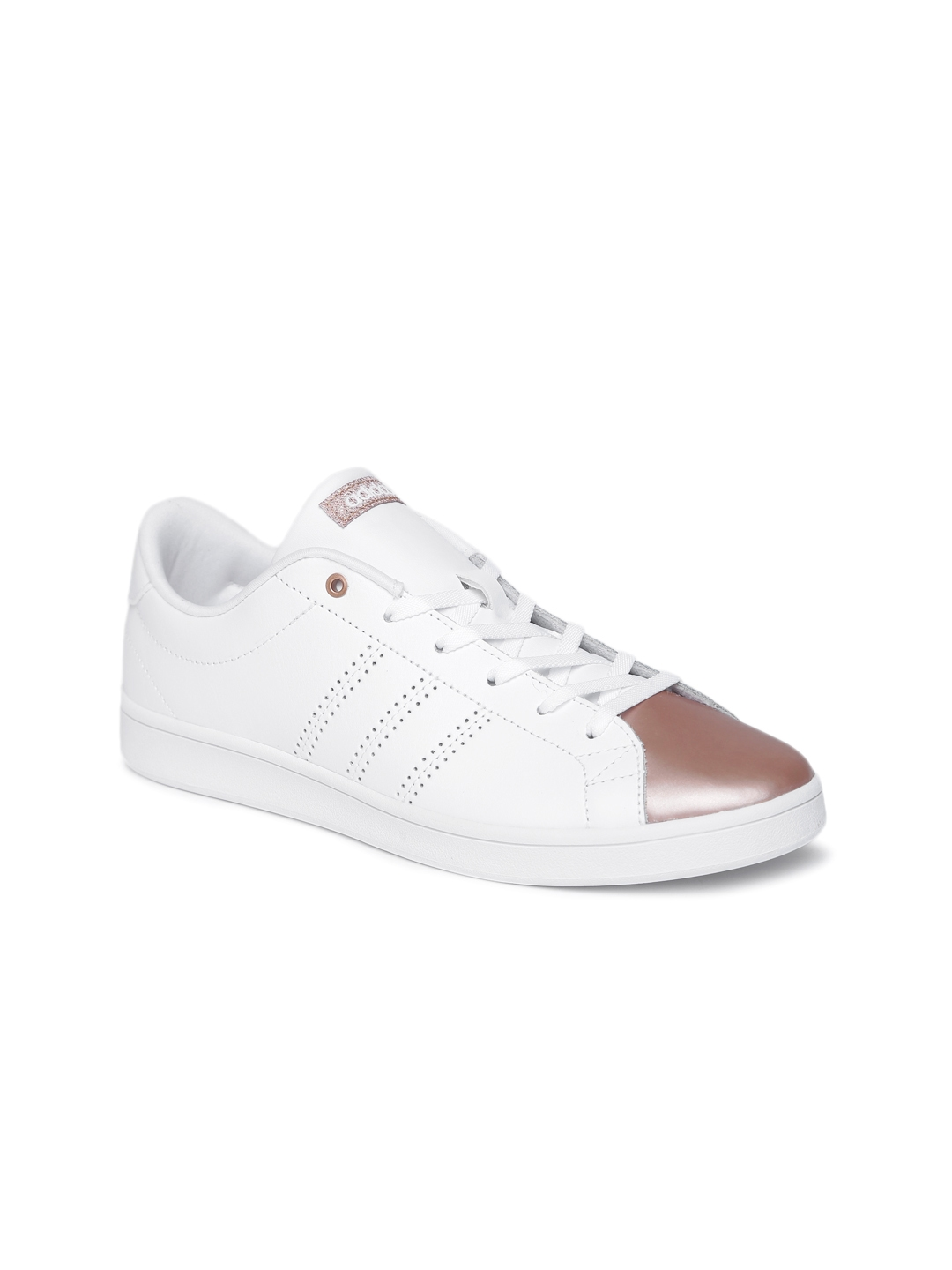 low priced c357a 57e05 ADIDAS NEO Women White  Brown Solid Advantage Clean QT Sneakers