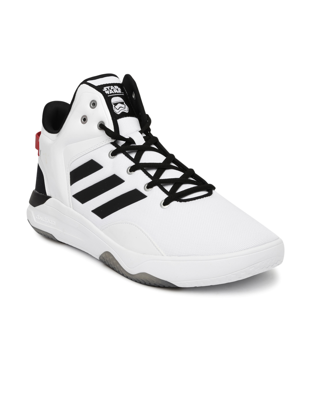official photos 8e0bb 98c94 ADIDAS NEO Men White Solid Cloudfoam Revival Star War Mid-Top Sneakers