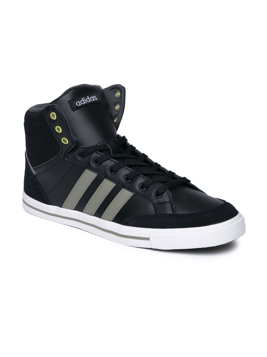 Adidas NEO Men Black Cacity Leather Mid-Top Sneakers