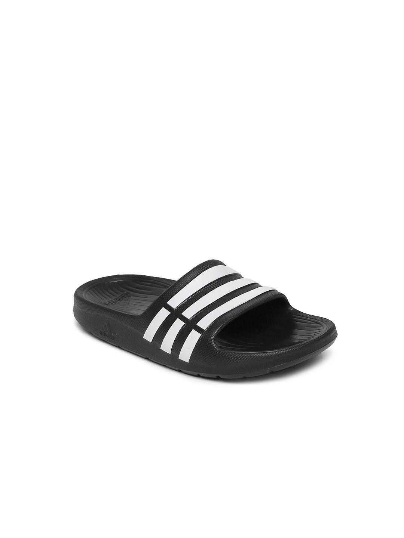 e136168dd4b5 Buy ADIDAS Boys Black   White Duramo Slide K Striped Flip Flops ...