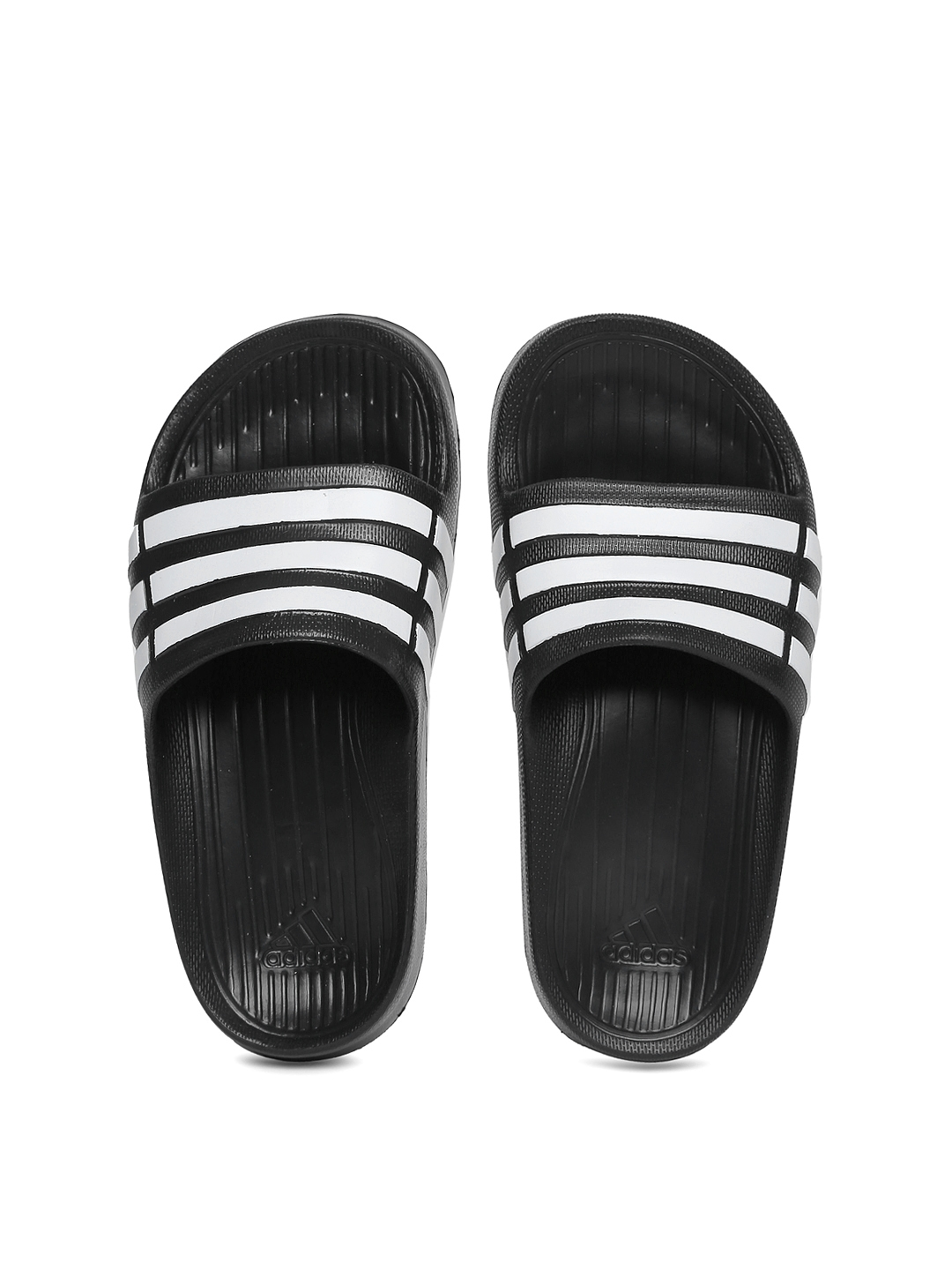 83bbc44f74d940 Buy ADIDAS Boys Black   White Duramo Slide K Striped Flip Flops - Flip Flops  for Boys 1731276
