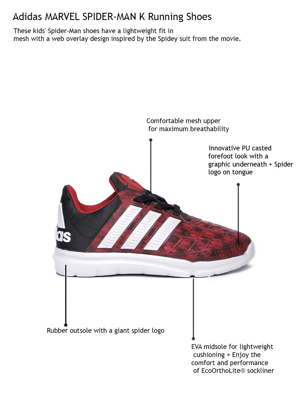 half off 36f38 4063a ADIDAS Kids Red  Black Marvel Spider-Man K Running Shoes