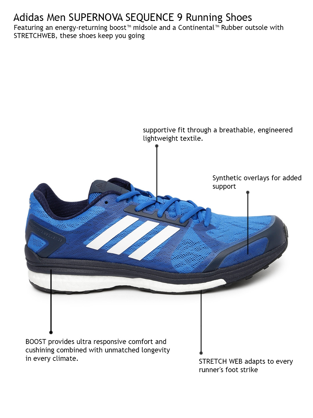 6c6b0c08ca8c7 Buy ADIDAS Men Blue Supernova Sequence 9 M Running Shoes - Sports ...