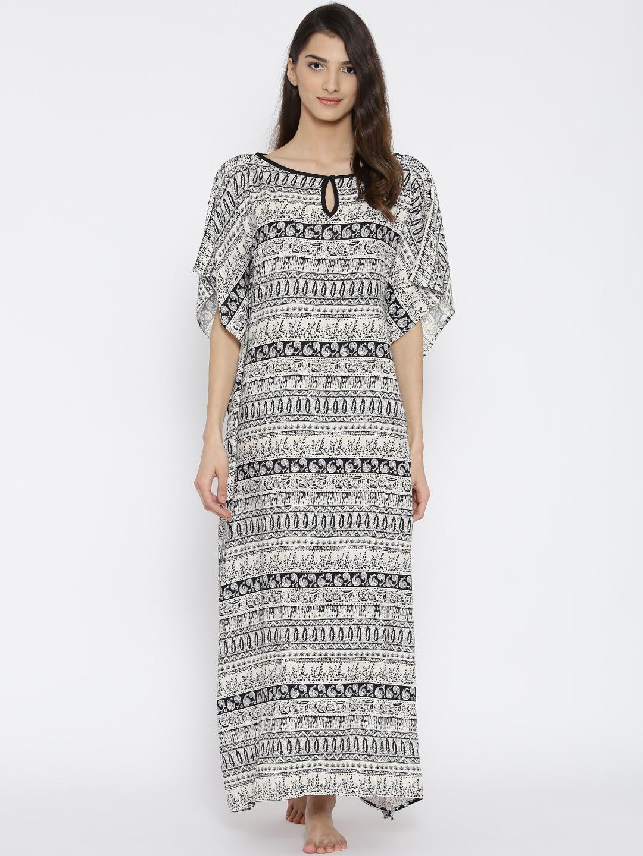 4758f8b6ba4 Buy The Kaftan Company Off White   Black Printed Kaftan Maxi Nightdress  LW COZYFT023 - Nightdress for Women 1732367