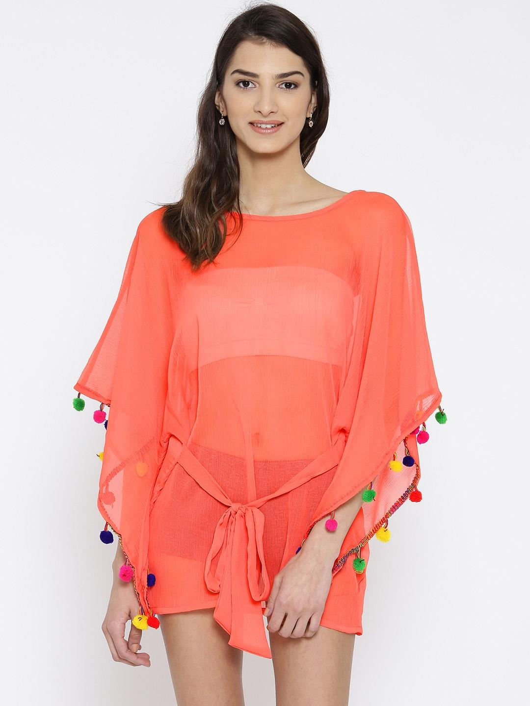 4146053e32 Buy The Kaftan Company Coral Orange Sheer Kaftan Cover Up Top RW_BUTRFLY002  - Swimwear for Women 1732411 | Myntra