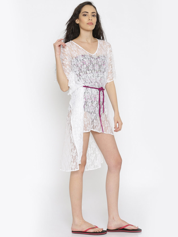 7579b17cab Buy The Kaftan Company White Lace Sheer Kaftan Cover Up Dress ...
