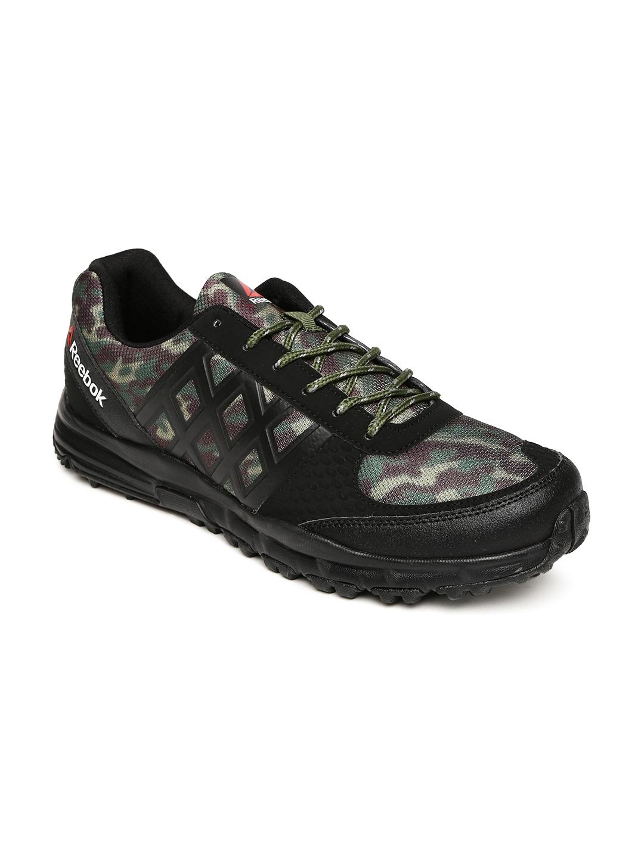 63fac61b69885 Buy Reebok Men Black   Olive Green Camo Trek Walking Shoes - Sports ...