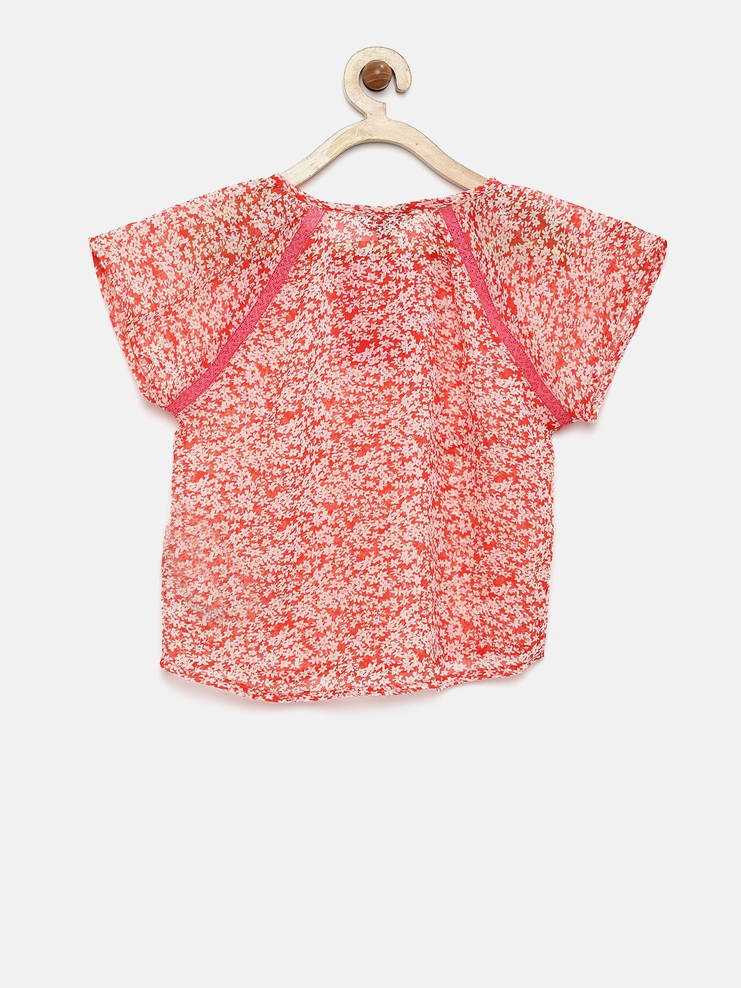 749d421acc1 Buy Tommy Hilfiger Girls Coral Red & White Floral Print Top - Tops ...