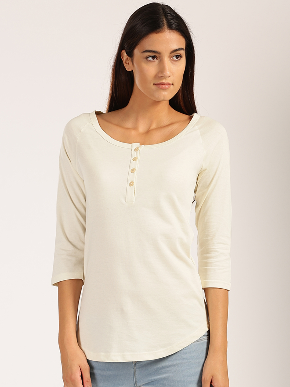 b5a6491a Buy Harvard Women Cream Coloured Solid Henley Neck T Shirt - Tshirts ...