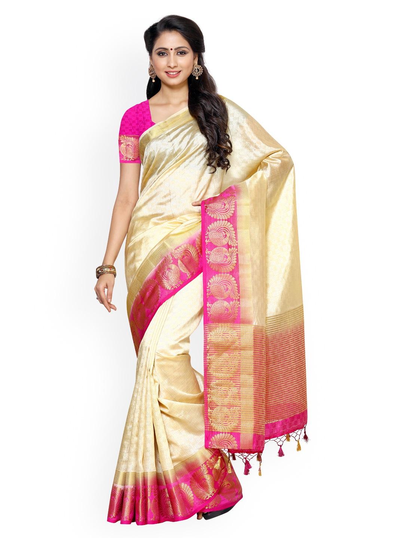 MIMOSA Beige Kanjeevaram Tussar Art Silk Traditional Saree