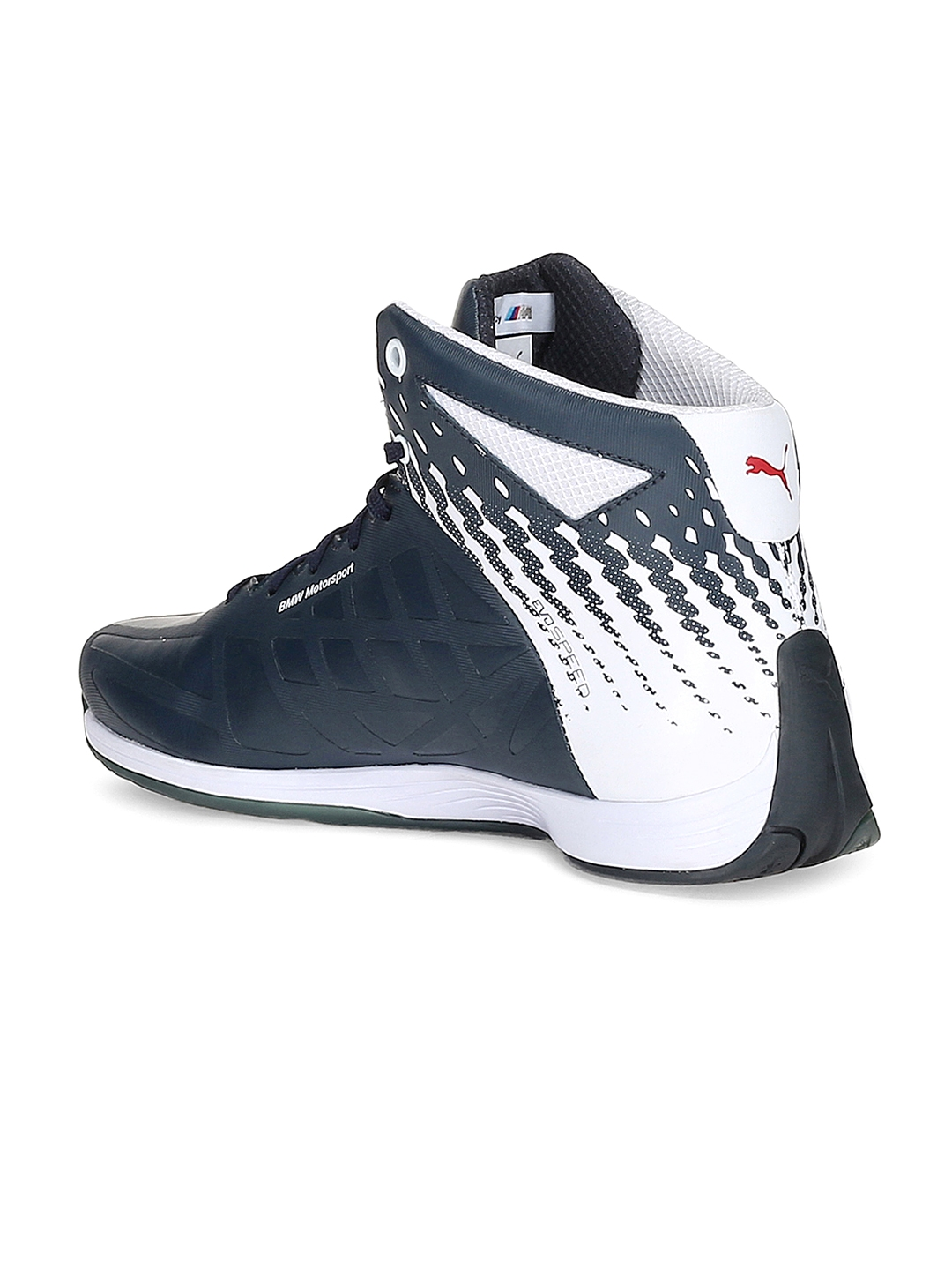 Buy PUMA Unisex Navy BMW MS EvoSpeed Mid Printed Mid Top Sneakers ... ac1cfabd8d
