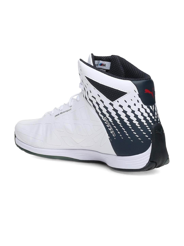 f811eb34f13 Buy PUMA Unisex White BMW MS EvoSpeed Mid Printed Mid Top Sneakers ...