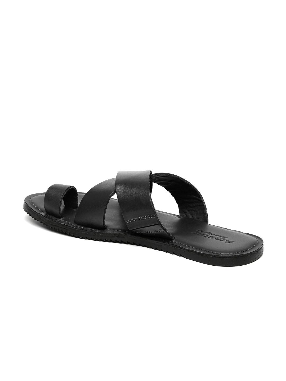 Buy Amster Men Black Genuine Leather Sandals - Sandals for Men ... 999d2f050dc7