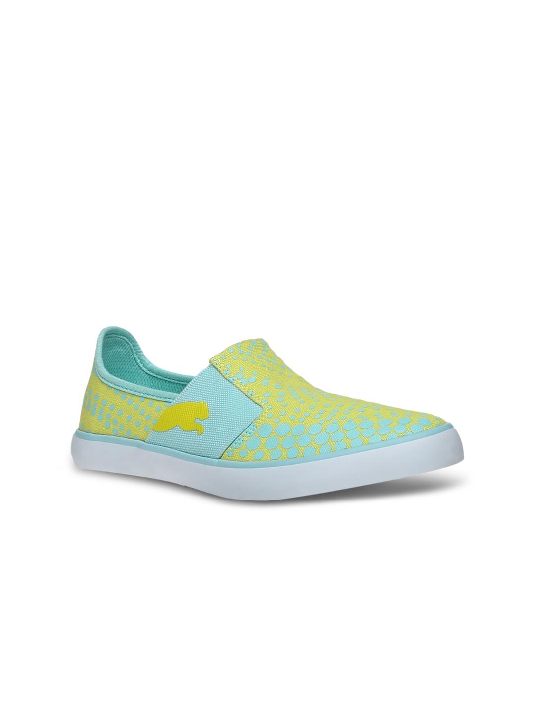 Buy PUMA Women Blue   Yellow Printed Regular Slip On Sneakers ... cbe3efef5