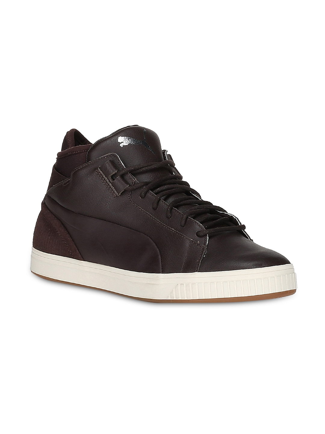 12d6b6433fb6 Buy Puma Men Coffee Brown Leather Play CITI Sneakers - Casual Shoes ...