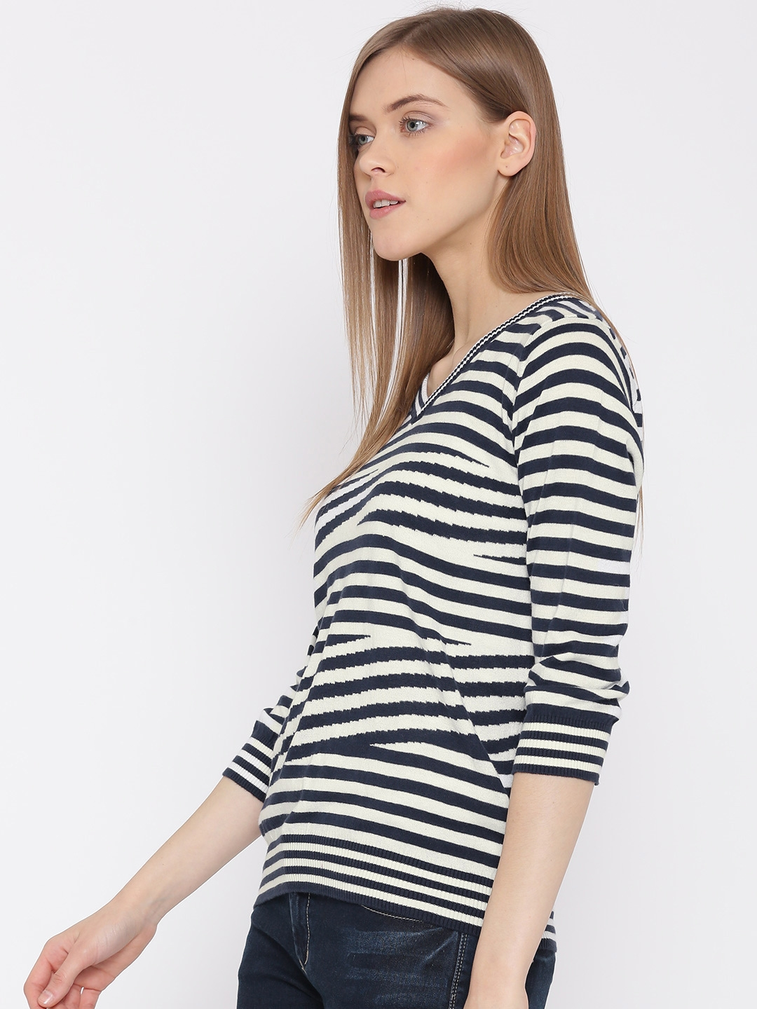 9302e75bd Buy United Colors Of Benetton Women White & Navy Striped Top - Tops ...