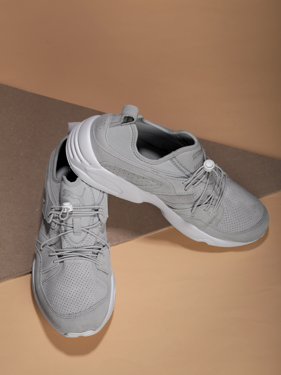 Buy Puma Men Grey Blaze Of Glory SOFT Perforated Leather Sneakers ... 6fd6ff18b
