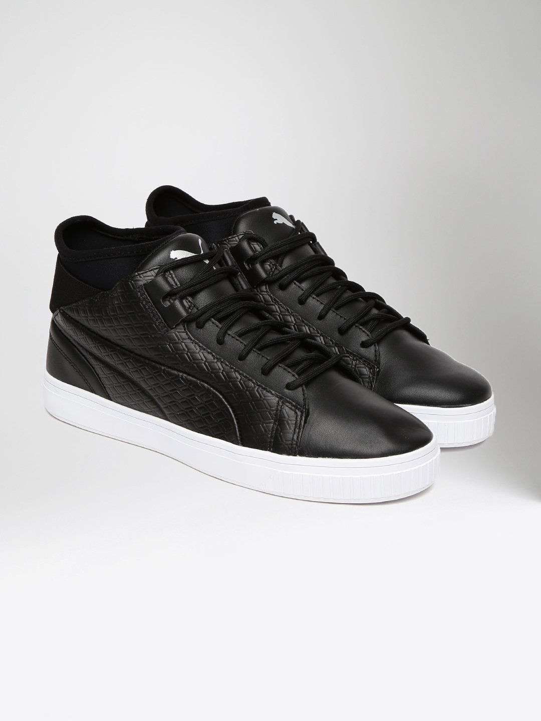 355601908386e2 Buy Puma Men Black Textured High Top Play B W Leather Sneakers ...